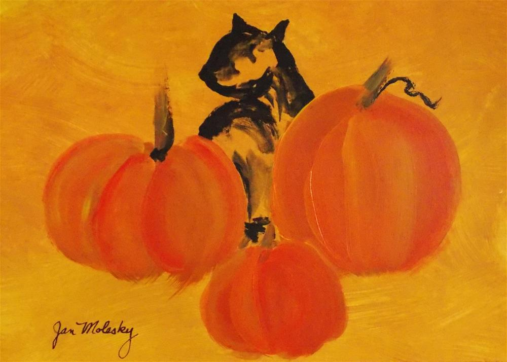 """Pumpkins Abstract"" original fine art by Jan Molesky"