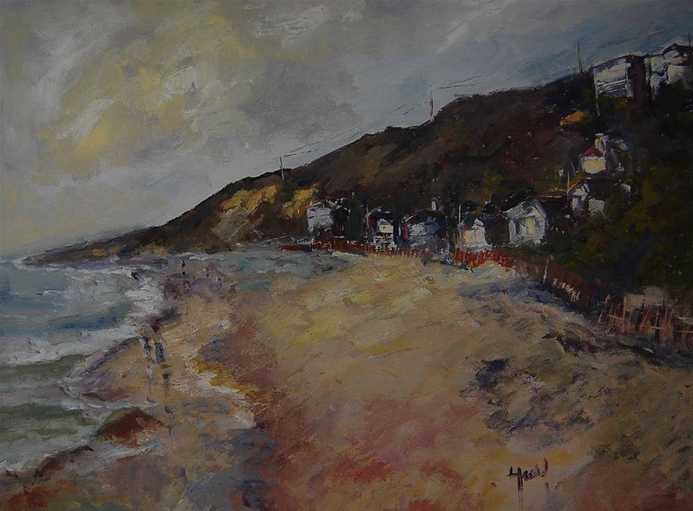 """Cottages at Crystal Cove"" original fine art by Deborah Harold"