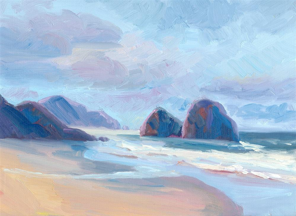 """TWO ROCKS, TWO HEADLANDS"" original fine art by Karen E Lewis"
