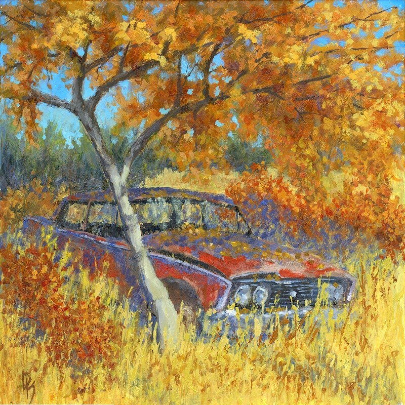 """Under the Chinese Elm Tree"" original fine art by David King"