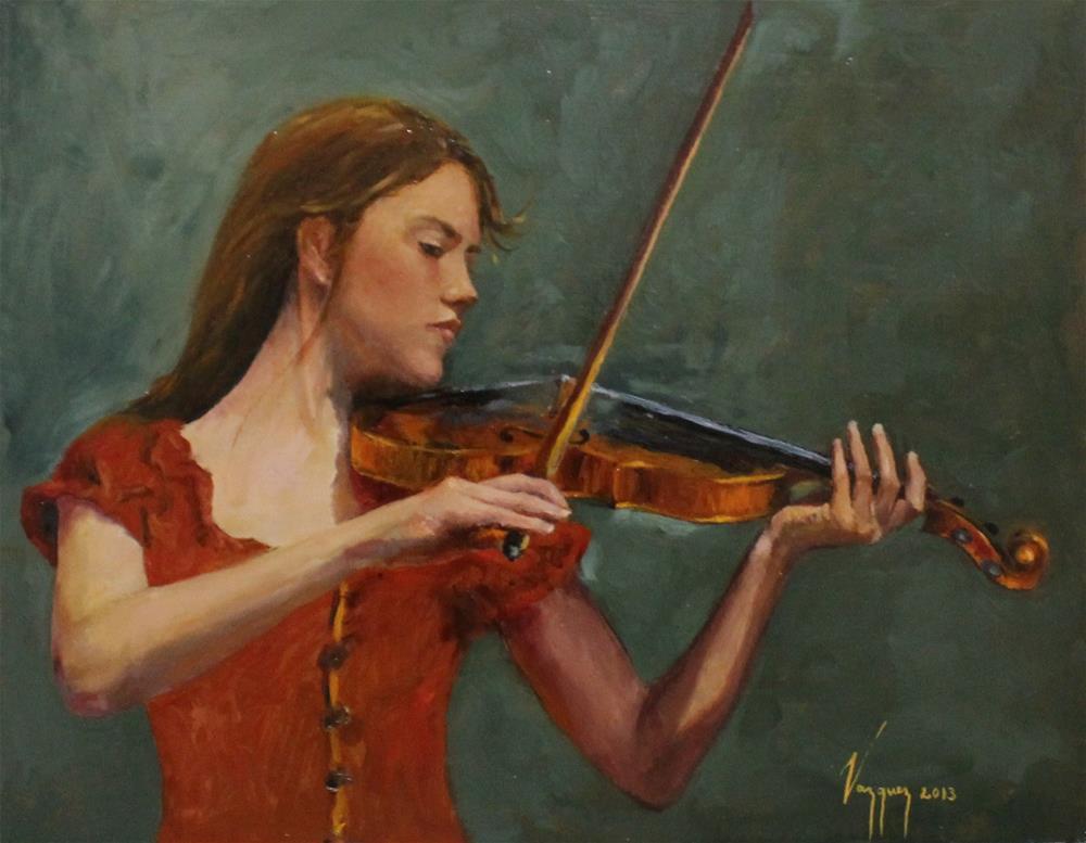 """violin soloist"" original fine art by Marco Vazquez"