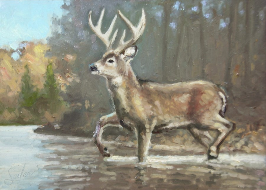 """""""River Cross Buck"""" original fine art by Larry Seiler"""