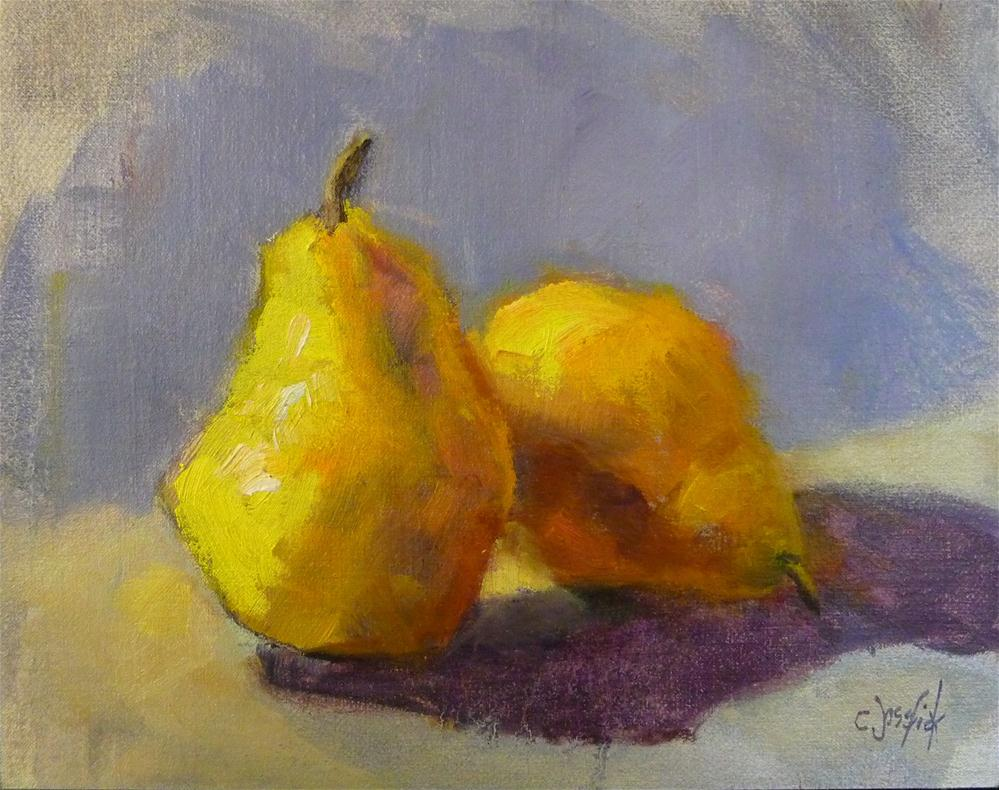 """Yellow Pears"" original fine art by Carol Josefiak"