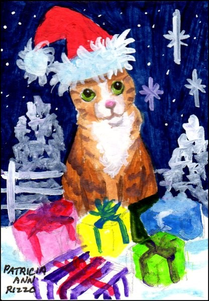 """Orange Tabby with Santa Hat, Snow"" original fine art by Patricia Ann Rizzo"