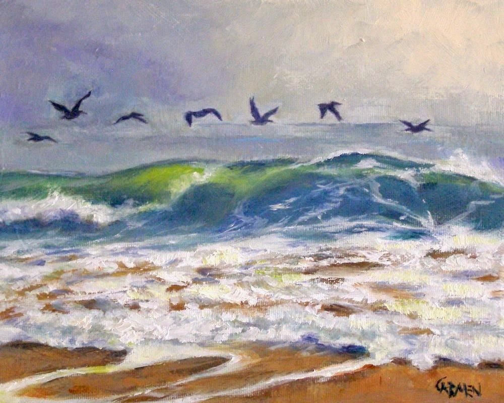 """Cruising for Breakfast, 10x8 Oil Painting on Canvas"" original fine art by Carmen Beecher"