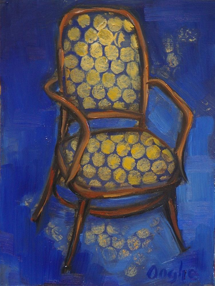 """Chair in Blue and Gold"" original fine art by Angela Ooghe"