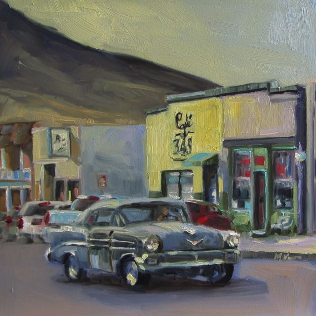 """DOWNTOWN CRUISER"" original fine art by Mb Warner"