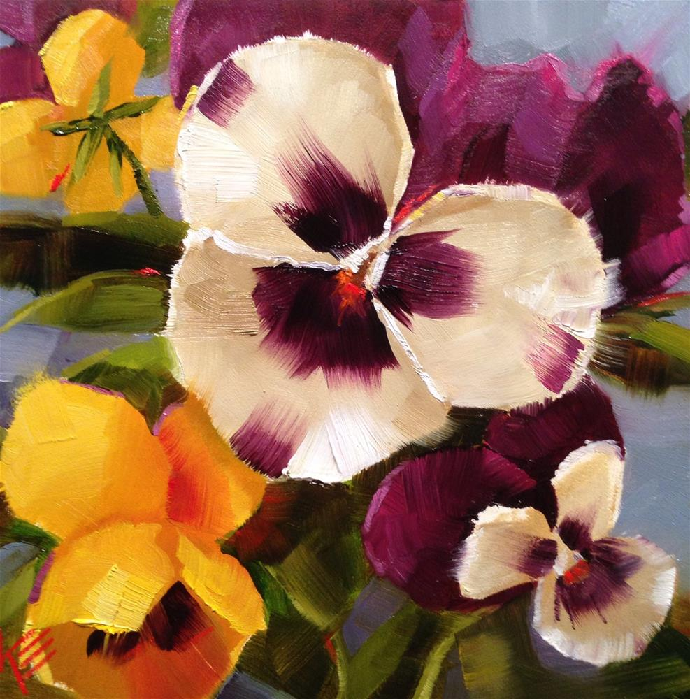 """Pansies on blue II"" original fine art by Krista Eaton"