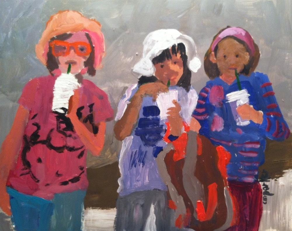 """Girls After School"" original fine art by Christine Parker"
