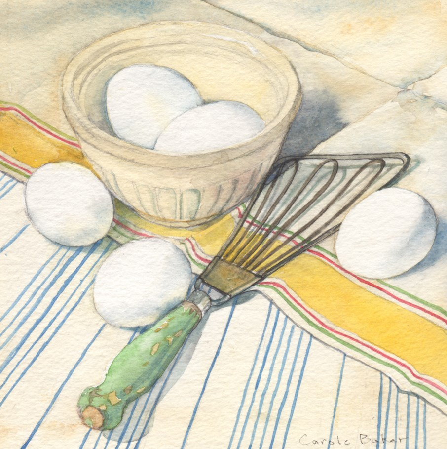 """Eggs and Whisk"" original fine art by Carole Baker"
