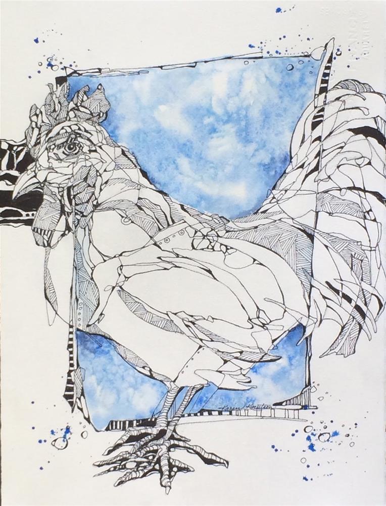 """""""Crazy about Chickens"""" original fine art by Karen Knutson"""