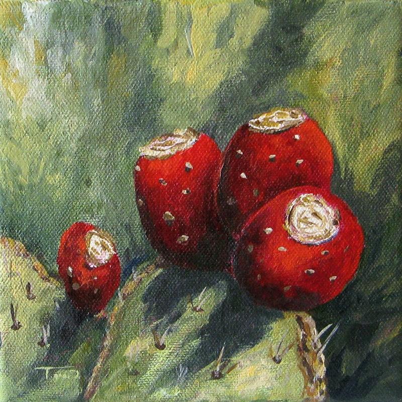"""""""Prickly Pear Cactus II"""" original fine art by Torrie Smiley"""