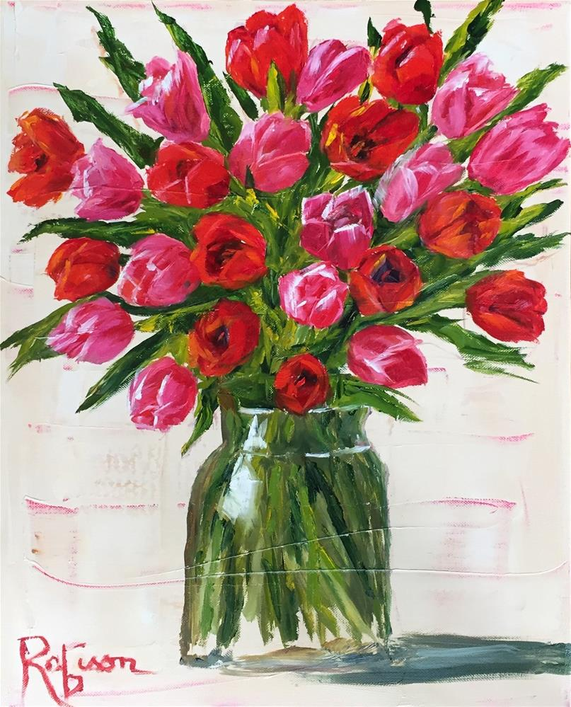 """""""Red and pink"""" original fine art by Renee Robison"""
