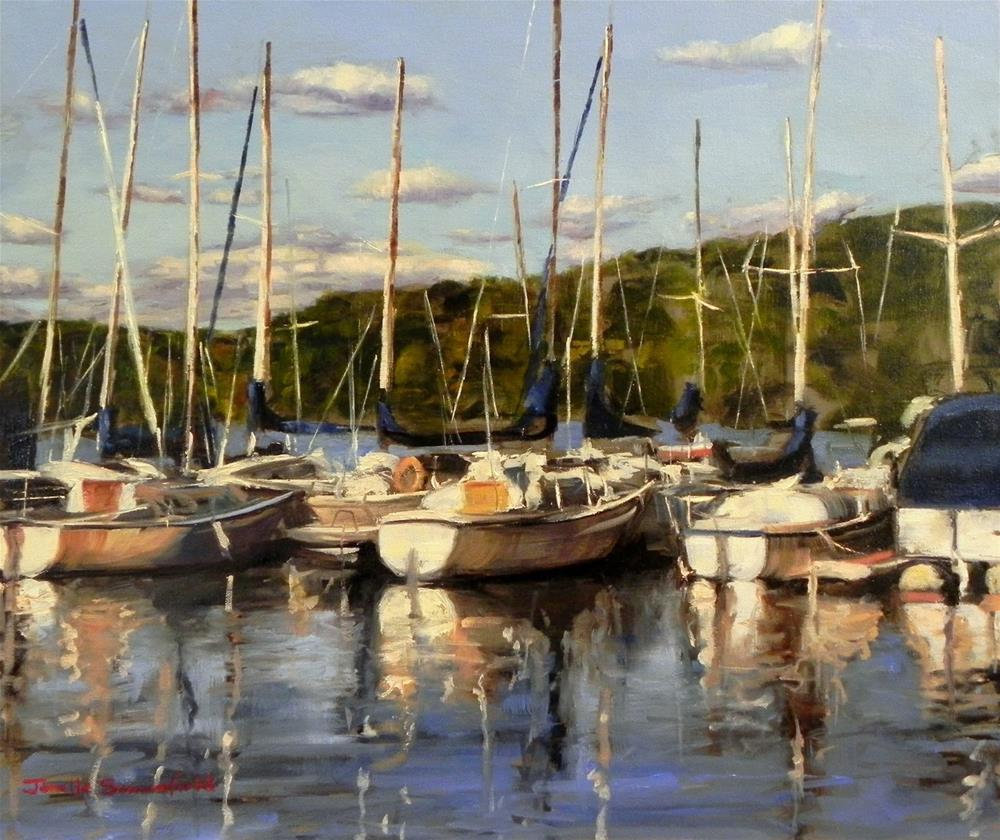 """Boats at Prince Gallitzin"" original fine art by Jonelle Summerfield"