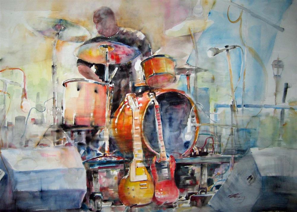 """One man's band"" original fine art by Wenqing Xu"