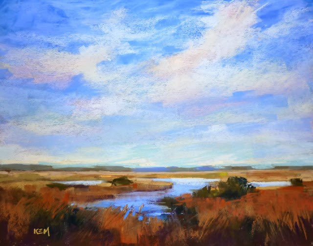 """Mini Pastel Demo....Gentle Clouds"" original fine art by Karen Margulis"