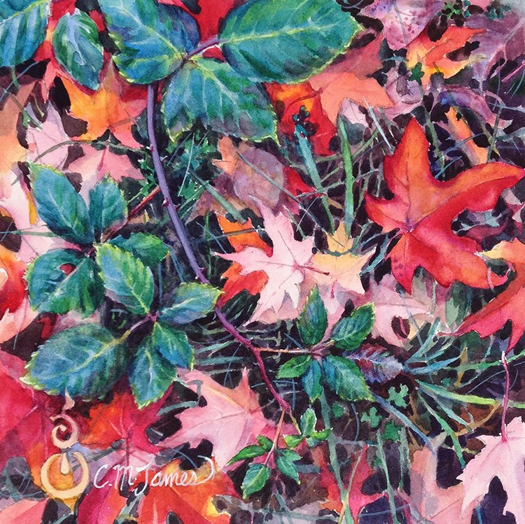 """Autumn Study in Red & Green"" original fine art by Catherine M. James"