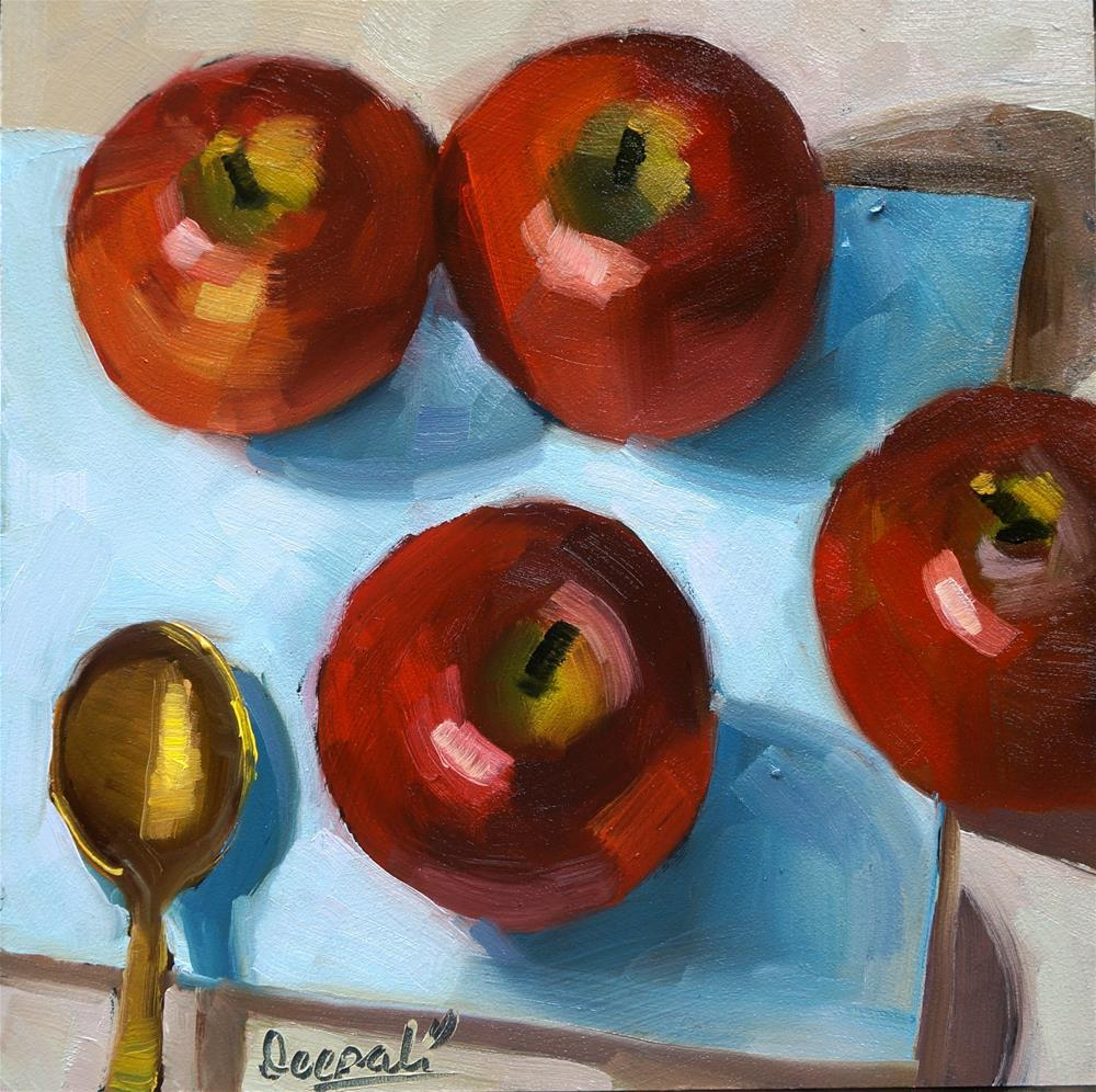 """Apples and spoon"" original fine art by Dipali Rabadiya"
