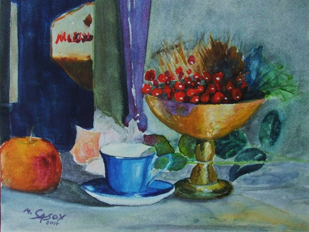 """Still life in blue"" original fine art by Michael Sason"