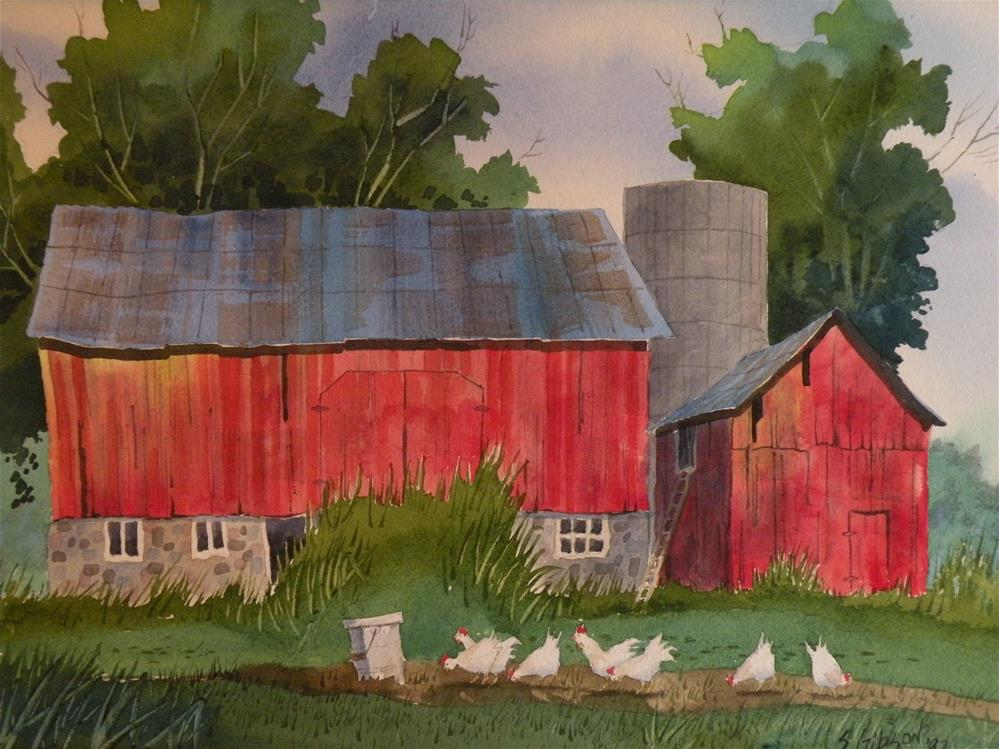 """Feeding the Chickens"" original fine art by Steve Gibson"