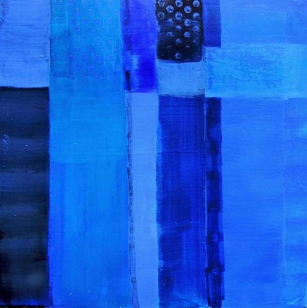 """KMA7-1 Study in Blue by Kit Hevron Mahoney (8x8 acrylic abstract blue)"" original fine art by Kit Hevron Mahoney"
