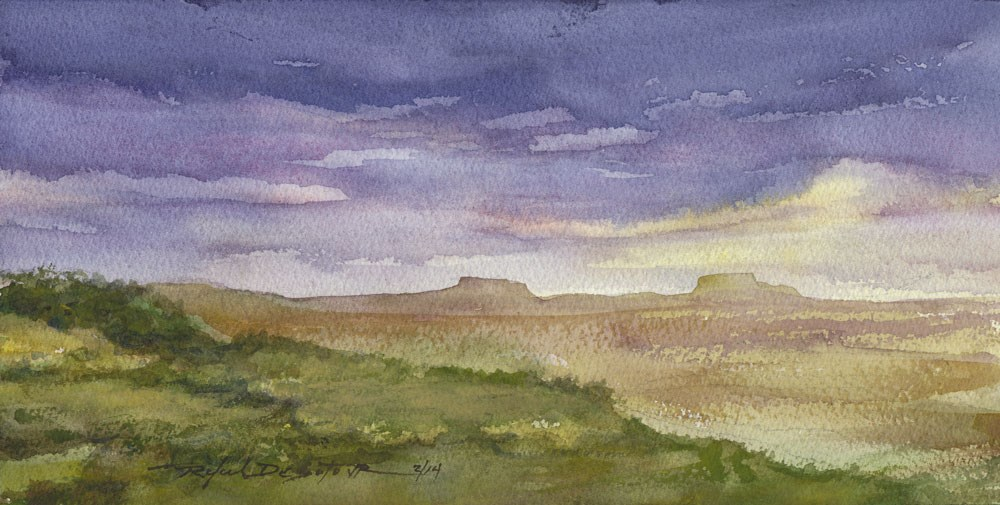 """Distant Buttes"" original fine art by Rafael DeSoto Jr."