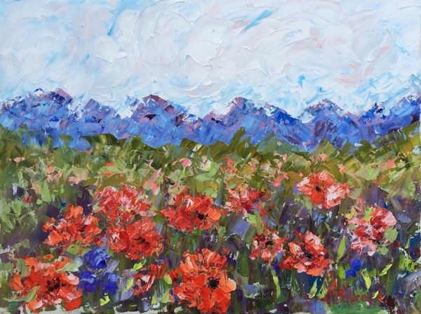 """Abstract Palette Knife Oil Poppy Flower  Landscape Painting Wild Poppies by Colorado Impressionist"" original fine art by Judith Babcock"