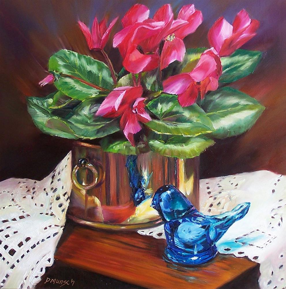 """Cyclamen with Blue Bird of Happiness"" original fine art by Donna Munsch"