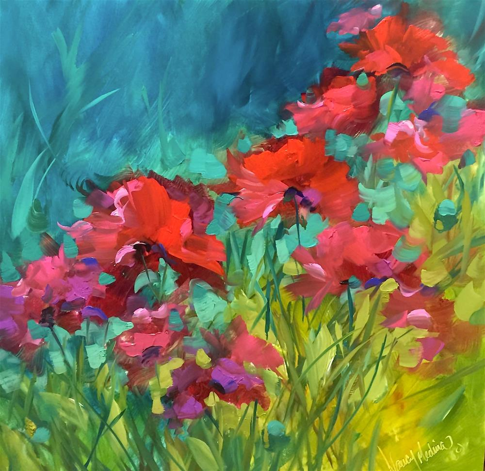 """""""Poppy Chorus and Something Colorful This Way Comes"""" original fine art by Nancy Medina"""