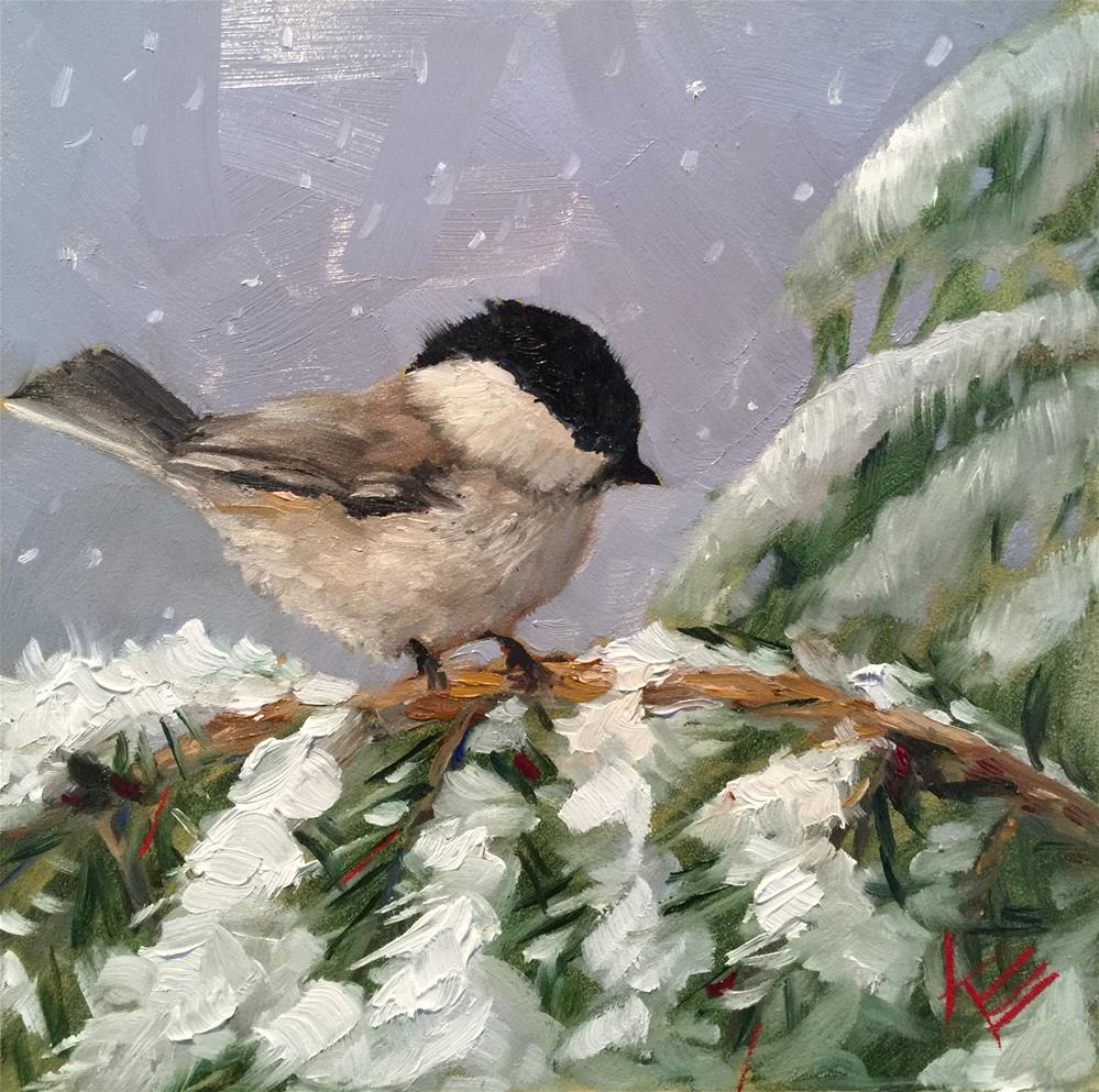 """Black Capped Chickadee"" original fine art by Krista Eaton"