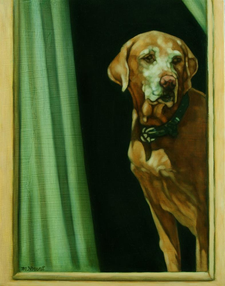 """How Sad is that Doggie in the Window?"" original fine art by Margaret Horvat"