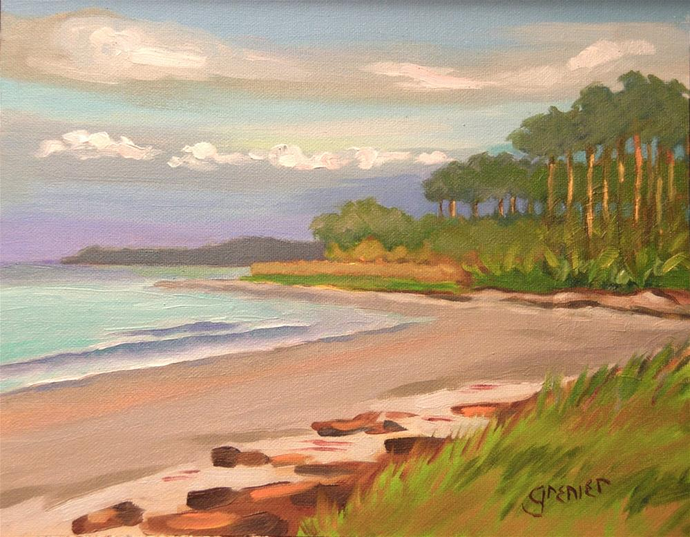 """Original Oil Painting Hunting Island South Carolina sign by Jean Grenier"" original fine art by jean grenier"
