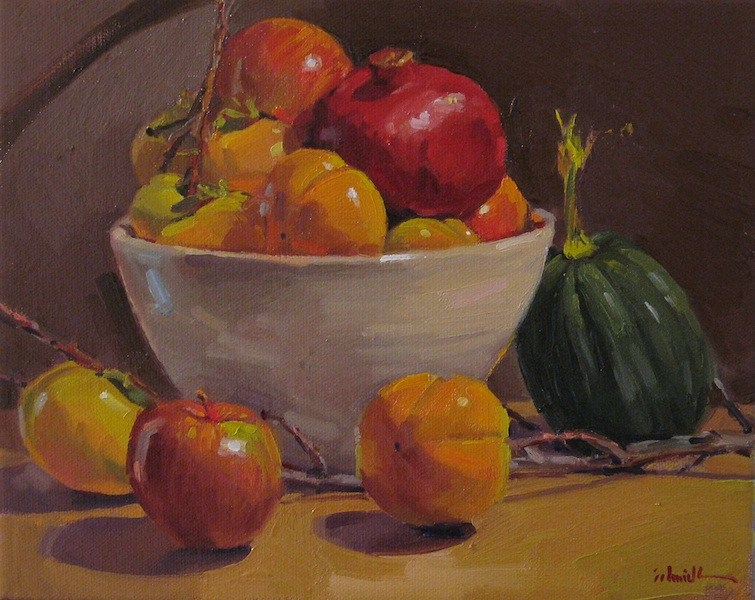 """Persimmon Harvest fruit persimmon apple pomegranate still life oil painting"" original fine art by Sarah Sedwick"