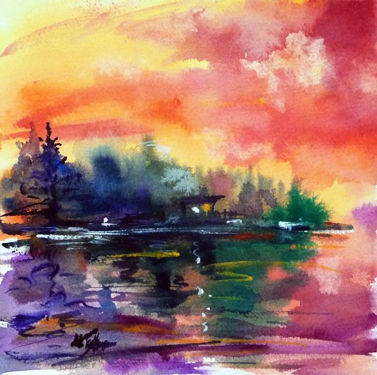 """""""Sauna by the lake"""" original fine art by Mikko Tyllinen"""