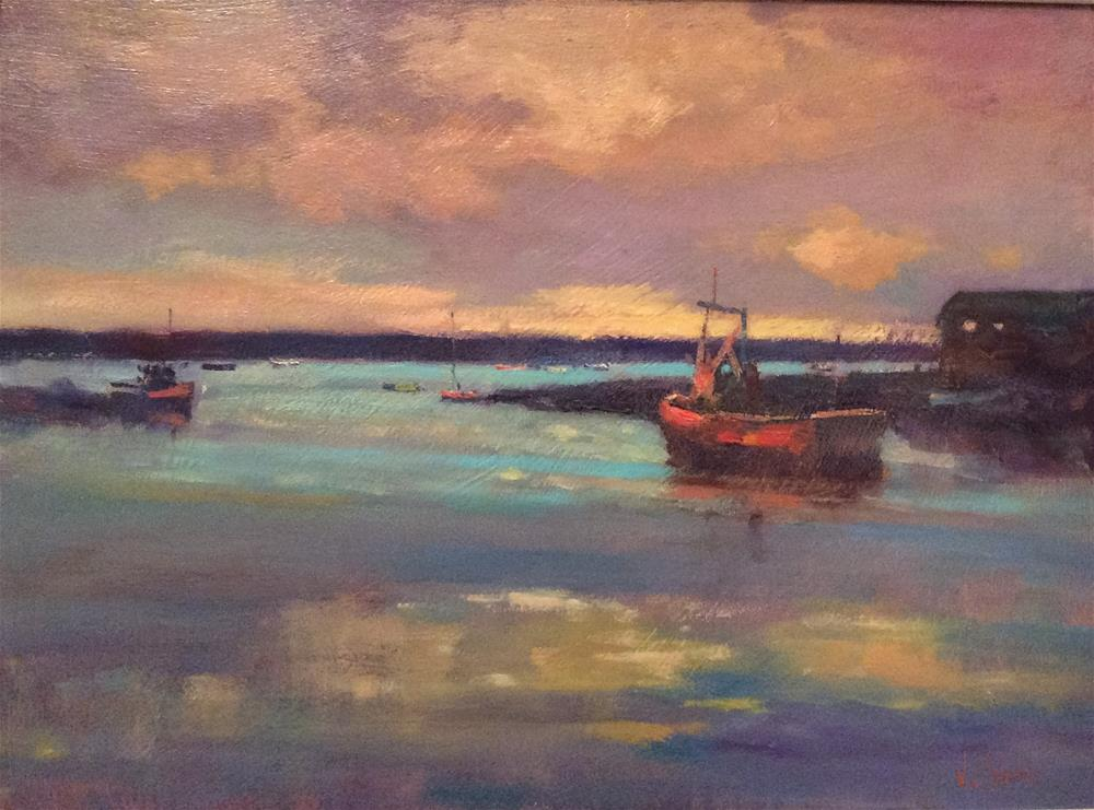 """Sunset Felixstowe Ferry 2"" original fine art by John Shave"
