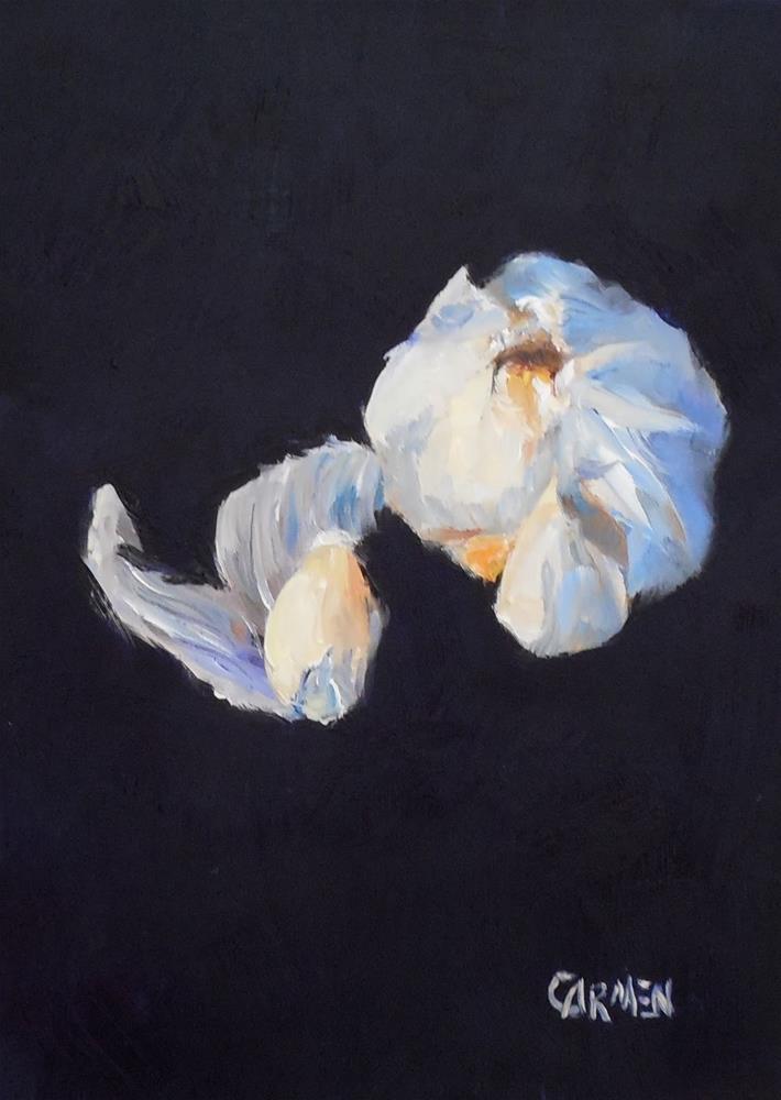 """Garlic, 5x7 Oil on Wood Panel, Still Life"" original fine art by Carmen Beecher"