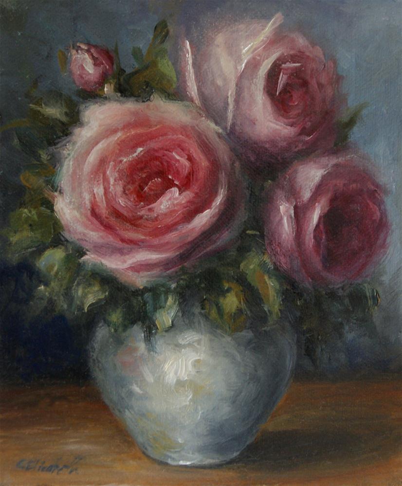 """""""Pink Roses Still Life"""" original fine art by Carolina Elizabeth"""