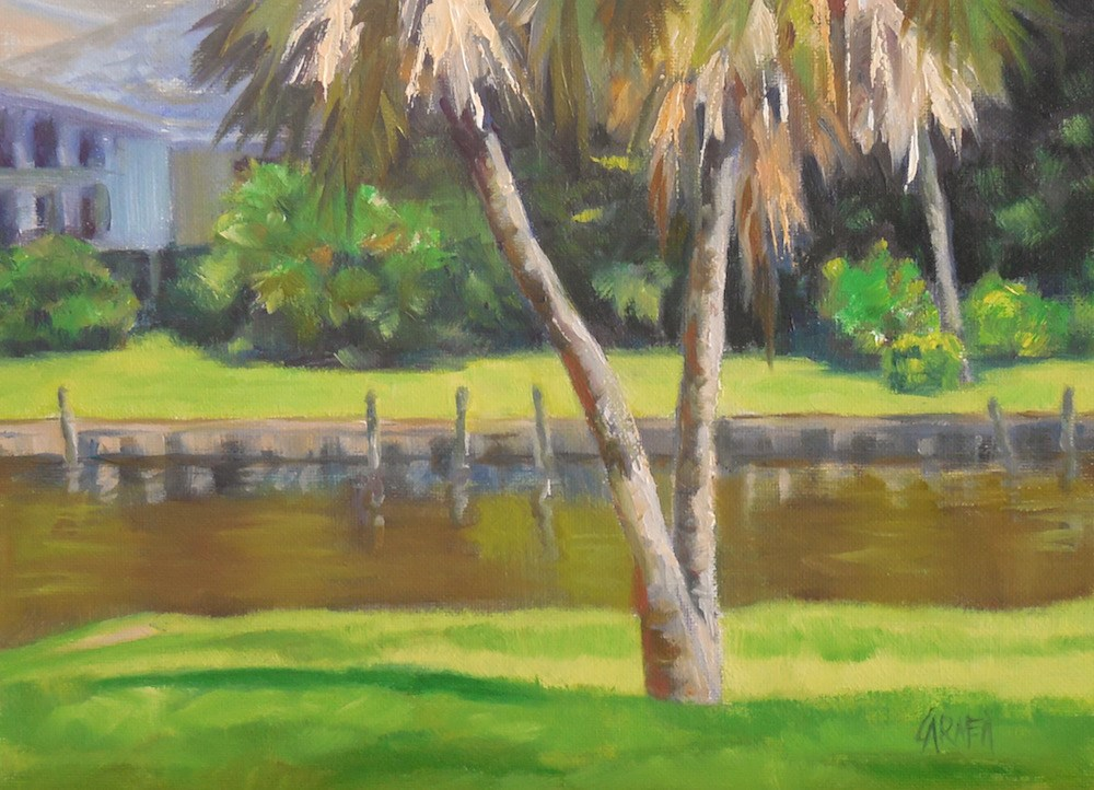 """Alligators May Be Present, 6x8 Oil on Canvas, Ballard Park, Melbourne, Florida, Tropical Scene"" original fine art by Carmen Beecher"