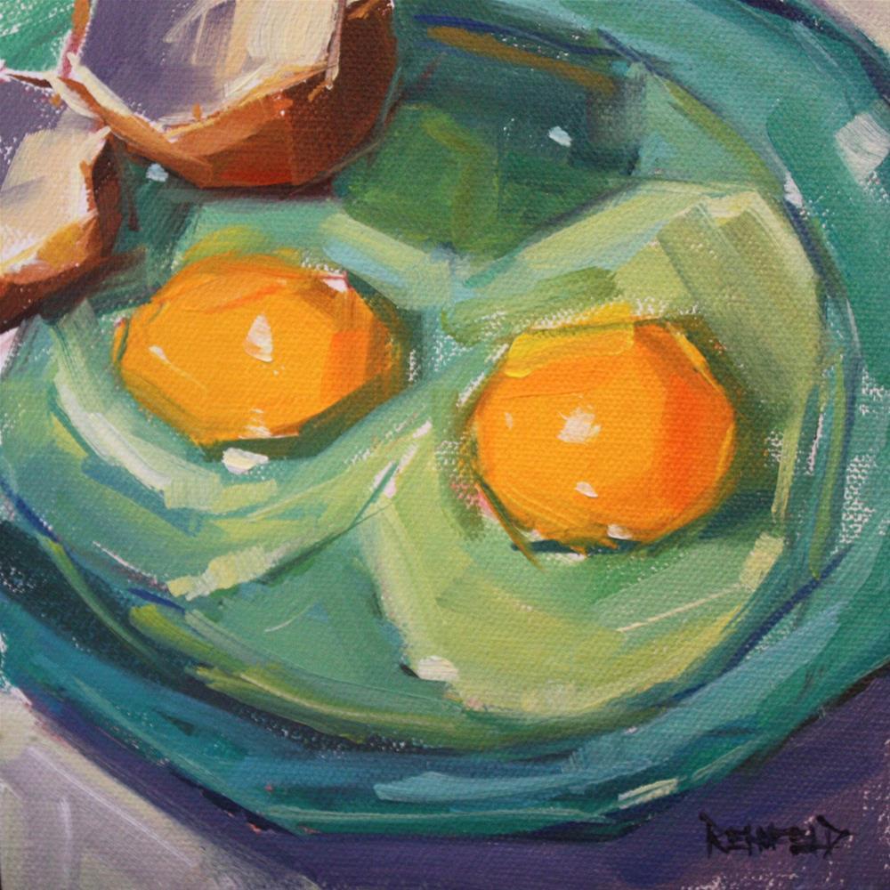 """Breakfast Eggs"" original fine art by Cathleen Rehfeld"