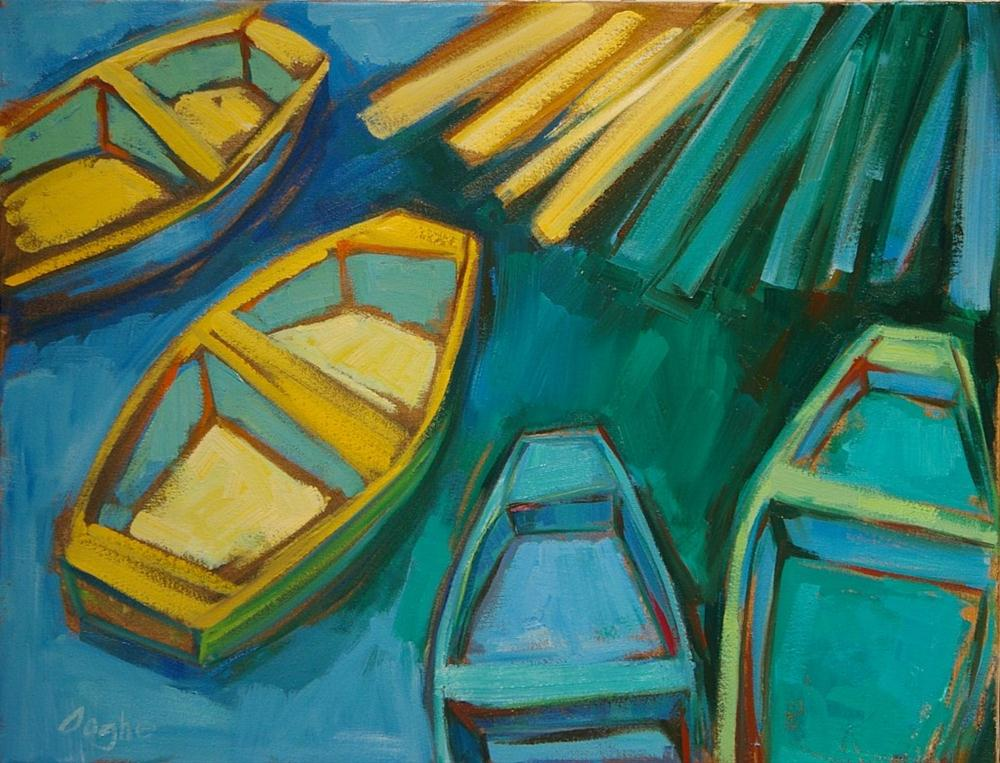 """Four Dinghies at the Dock"" original fine art by Angela Ooghe"