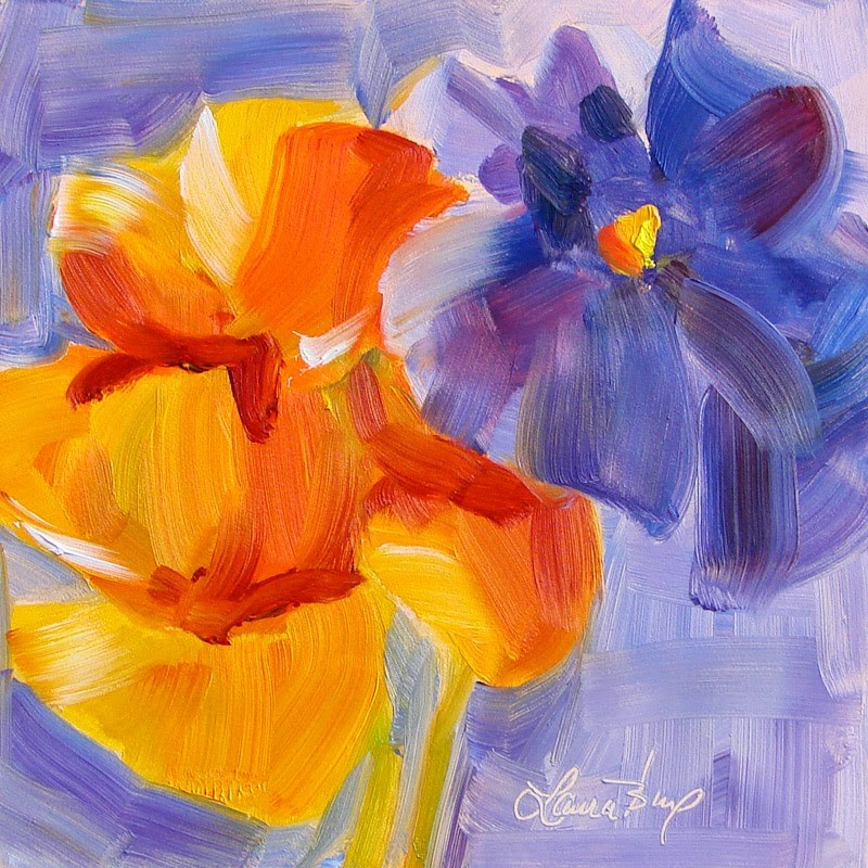 """Pansy Abstraction 203"" original fine art by Laura  Buxo"