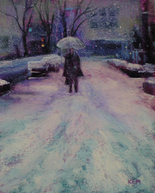 """Winter in the City ...Painting Snowflakes in Pastel"" original fine art by Karen Margulis"