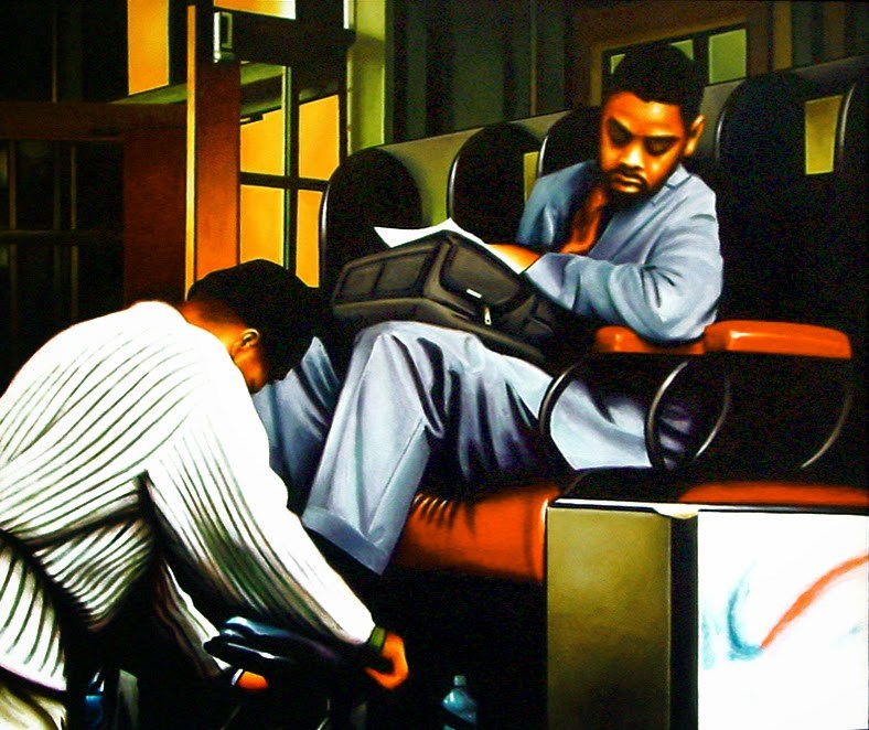 """Shoe Shine Boy- Man Getting His Shoes Shined Central Station New York"" original fine art by Gerard Boersma"