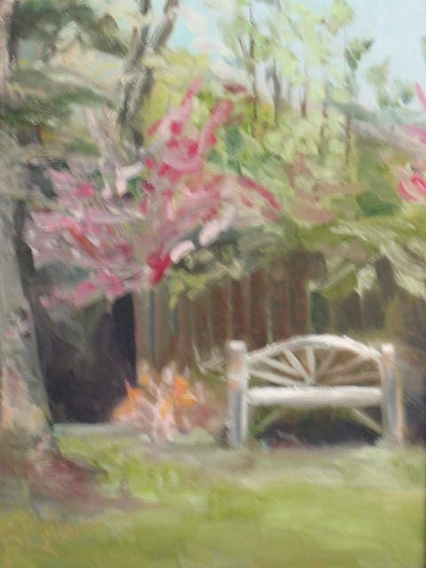 """ON HOLD -- 8 x 16 canvas - custom frame:  Alice's Garden"" original fine art by Brenda Kollman"