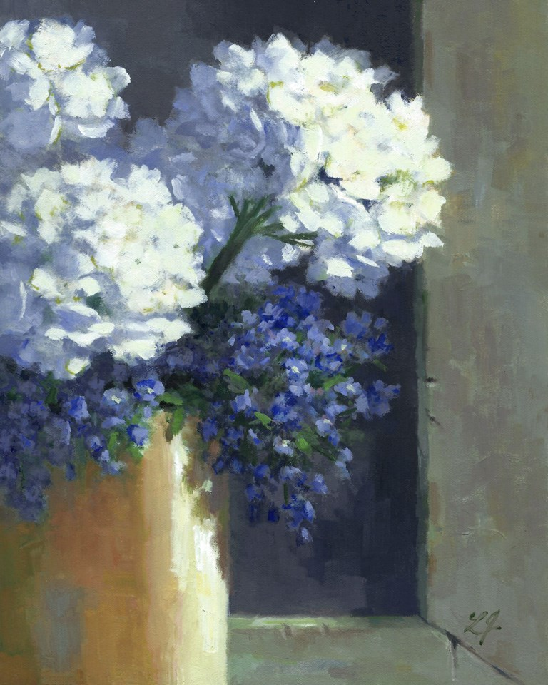 """Glowing Hydrangeas"" original fine art by Linda Jacobus"