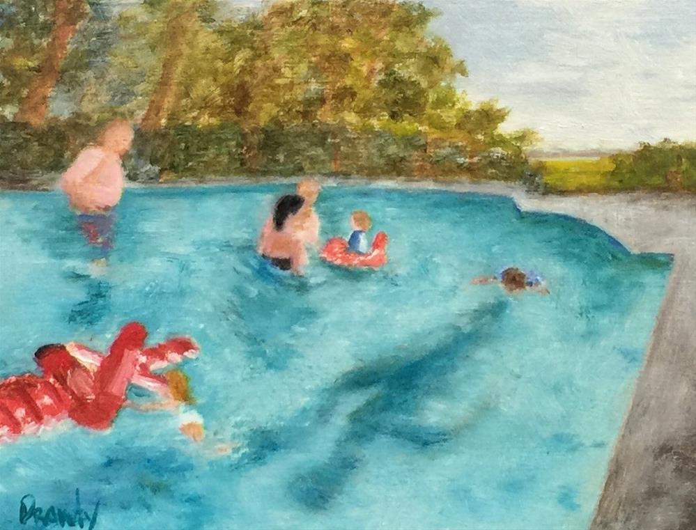 """Family at Pool"" original fine art by Stephanie Drawdy"