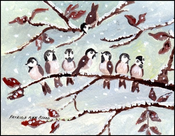 """Chickadees Huddling in the Snow"" original fine art by Patricia Ann Rizzo"