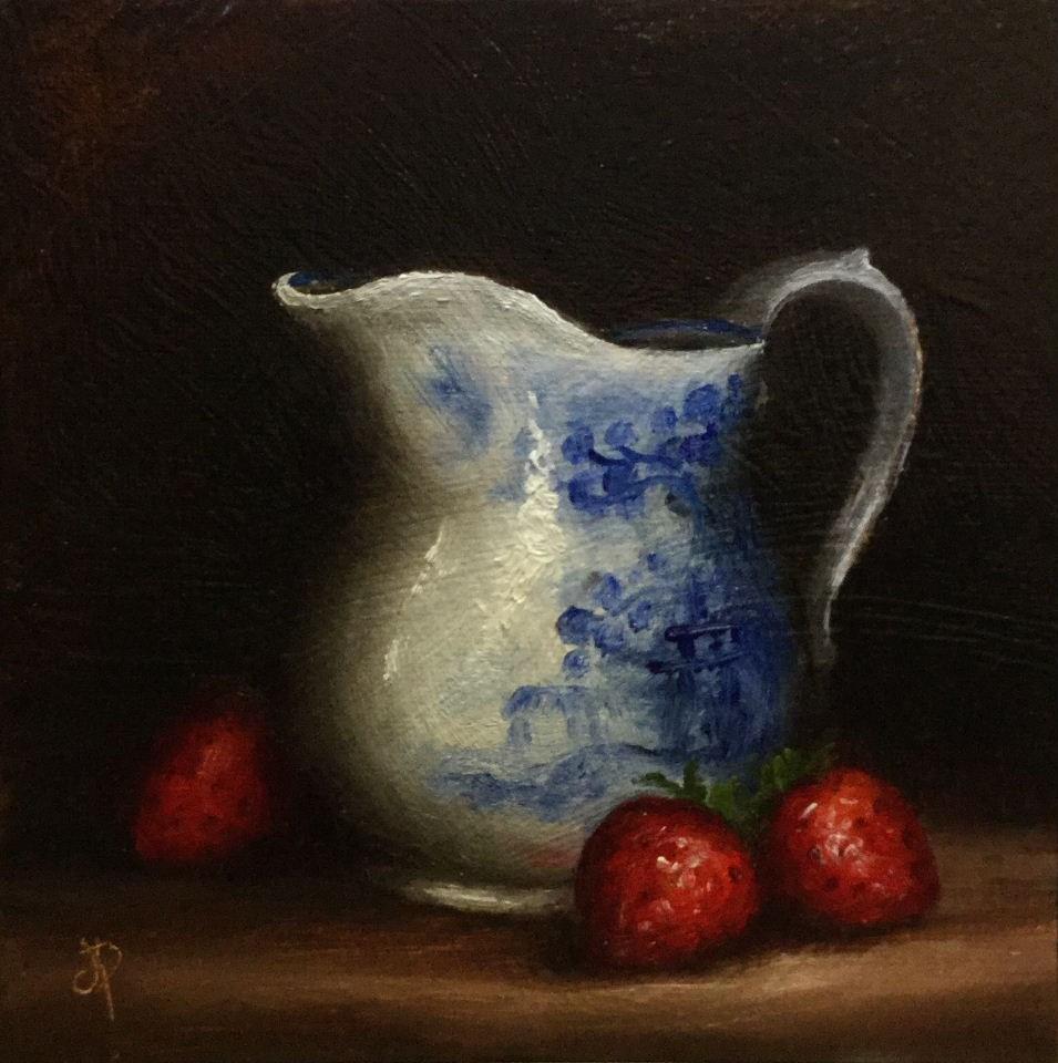 """Strawberries and Cream"" original fine art by Jane Palmer"