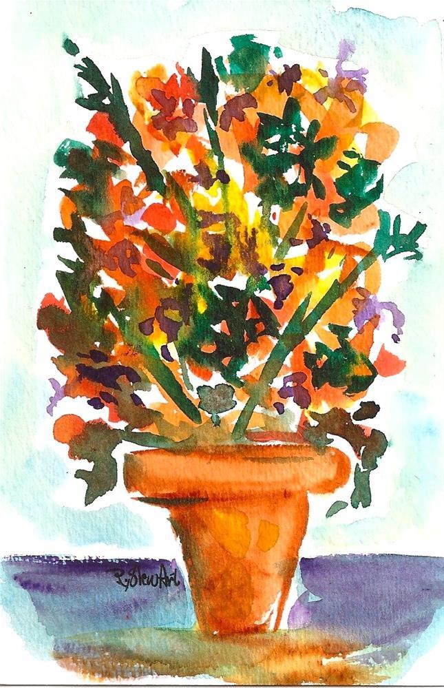 """""""4x6 Postcard Size Art Flowers Orange Pot Gold Watercolor Miniature Penny StewArt"""" original fine art by Penny Lee StewArt"""