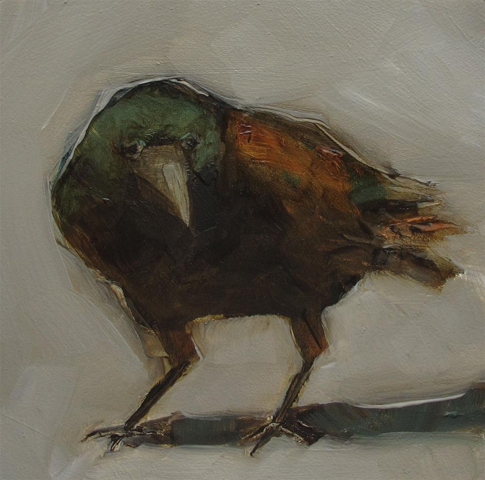 """CROW RAVEN BLACK BLACKBIRD BIRD Original Art Colette Davis Art Painting OIL"" original fine art by Colette Davis"